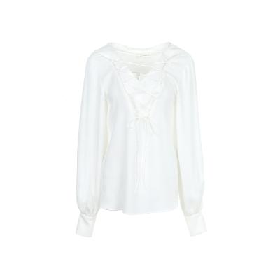 corset detail silky blouse white